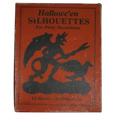 Vintage Halloween Silhouettes in Original Box with Devil Graphics - 1920's