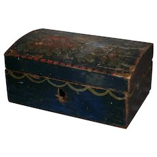AAFA Primitive Wood Miniature Dome Top Box in Blue Paint and Floral
