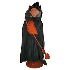 Vintage Halloween Crepe Paper Large Witch with Broom