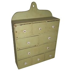 AAFA Primitive Wood Hanging Apothecary Spice Cabinet in Apple Green Paint