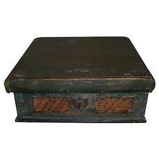 Early AAFA Primitive Ladies Slant Top Writing Desk in Blue Green Paint