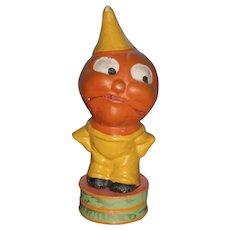 Vintage German Halloween Composition JOL Pumpkin Head Veggie Boy in Yellow Suit Candy Container