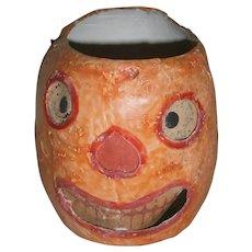 Early Japanese Halloween Orange JOL Pumpkin Face Lantern with Paper Insert