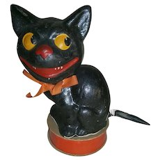 Vintage Halloween German Composition Black Cat Candy Container with Wire Spring Tail