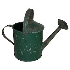 AAFA Early Primitive Child's Metal Sprinkling Water Can in Old Green Paint