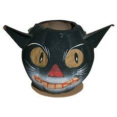 Vintage German Halloween Cat Jack-O-Lantern with Paper Face Insert