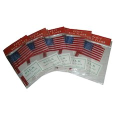 25 Vintage Patriotic American 41 star Red, White, and Blue Japan Silk Miniature Flag still in Original Package