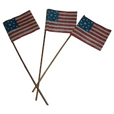 Lot of 3 American Patriotic Gauze Miniature Flags with 13 Stars