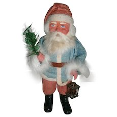 Vintage German Christmas Santa Woodcutter Candy Container with Blue Suit