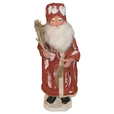 """10"""" German Santa Claus Candy Container in Red Robe with Feather Tree Spray"""