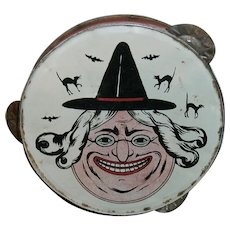 Vintage Halloween Tin Witch Tambourine Noisemaker from Germany 1930's