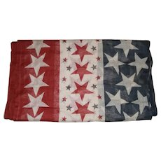 Vintage Muslin Patriotic Stars Bunting for 4th of July Red White and Blue!