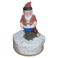 German Composition Santa Claus on Snow Mound Candy Container