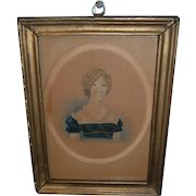 AAFA Primitive Watercolor of Lady in Blue Dress and Framed