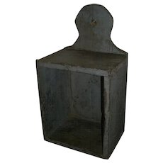 AAFA Primitive Wood Hanging Wall or Candle Box in Gray Paint