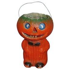 Vintage Halloween JOL Lantern Boy or Man with Paper Face Insert