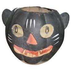 German Halloween Black Cat JOL Lantern with Paper Face Insert 1930's