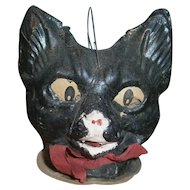 Pressed Cardboard Black Cat Halloween JOL Lantern with Paper Face Insert