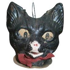 Pressed Cardboard Black Cat Halloween JOL Lantern with Paper Face Insert