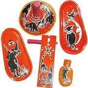 5 Vintage Tin Halloween Clanger Noisemakers Owl, Witch, Cat, Moon, JOL Pumpkin