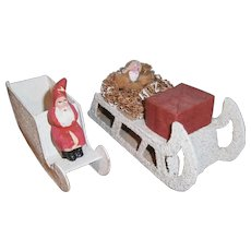 2 Vintage Christmas Candy Container : Santa Claus in Sleigh