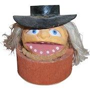 Vintage Halloween German Composition JOL Pumpkin Head Witch Candy Container