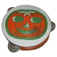 Vintage Halloween JOL Pumpkin Tambourine Noisemaker with Green Boarder
