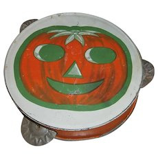 Vintage Halloween JOL Pumpkin Tambourine Noisemaker with Green Boarder