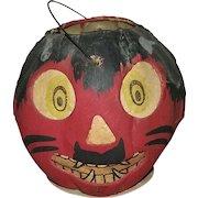 Vintage German Halloween Red Devil JOL Pumpkin Lantern with Paper Face Insert