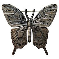 Vintage Mexico Taxco Mexican FABARO Sterling Silver Butterfly Realistic Pin Brooch