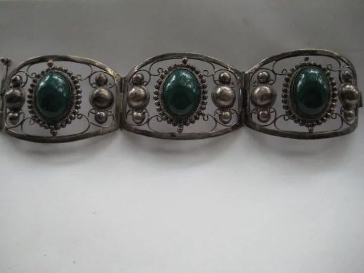 Mexico Vtg 925 Sterling Silver Real Jasper Gemstone Sombrero Pin Brooch Jewelry & Watches Retro, Vintage 1930s-1980s