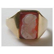 Vintage Edwardian Ring 10 Kt Gold Yellow Hardstone Cameo