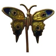 Victorian 14 Karat Gold Guilloche Enamel Yellow Blue Butterfly Stick Pin
