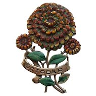 Vintage October MUM Flower Sterling Silver Enamel Brooch Pin 1940's