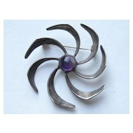"Taxco Mexico VINTAGE JH Modern Modernist Early PIN ""PINWHEEL"" Amethyst Cabochon Vintage Brooch"