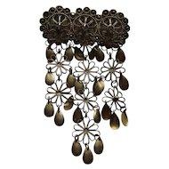 Vintage Norway Denmark Solje Silver Triple Hoops Long Dangles Pin Brooch