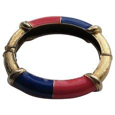 Vintage CINER RED BLUE Enamel Clamper Bracelet Cuff Signed