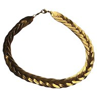 """Vintage Napier Necklace Braid Weaved Gold Plated """"17inches"""" 6 STRANDS BEAUTIFUL"""