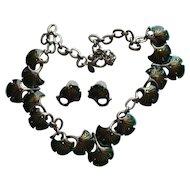 "Vintage Chico's Necklace "" AWESOME""  Enamel MUSHROOM Ginkgo Leaves Rhinestone Pierced Earrings"