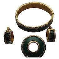 Vintage BERGERE Signed Bracelet  Brooch Clip Earrings Art Deco Style Paure