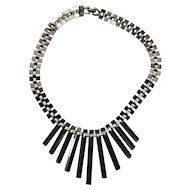 """Vintage 1960's Modernist """"MOD""""  Necklace Stainless Steel Futuristic Runway"""