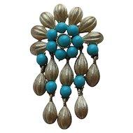 Vintage Crown Trifari CLEOPATRA Pendant Brooch Turquoise Colored Plastic