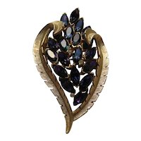 "Vintage Crown Trifari ""HEART"" PURPLE Navette Floral Leaf Pin Brooch Signed"