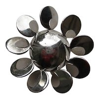 Vintage DeRosa Sterling Silver Flower Abstract Modernism RARE Brooch Pin