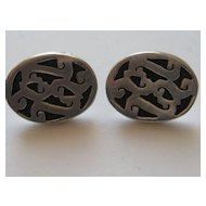 Vintage Mexico Cufflinks Taxco Modernist  Sterling Silver
