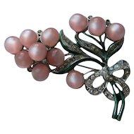 Vintage Coro Pink MOONGLOW Enamel Rhinestone Brooch Pin