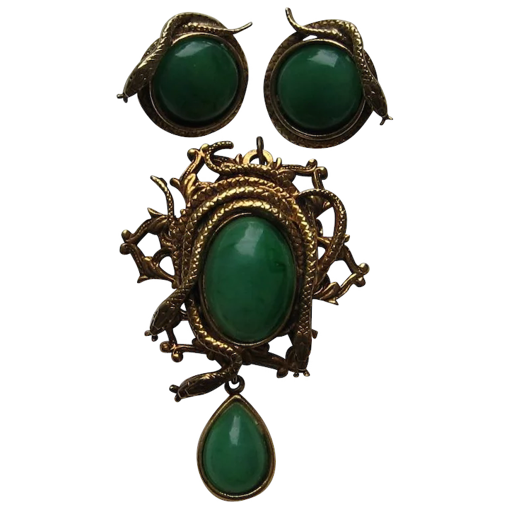 8cf81269d Vintage Victorian Revival Snakes Faux Green Jade Pin Pendant Clip : Cosmic  Jewelry | Ruby Lane