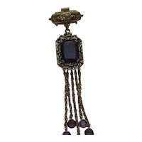 Vintage GOLDETTE Victorian Style Dangle Amethyst Rhinestone Brooch Pin