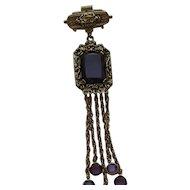 Vintage GOLDETTE Victorian Style Dangle Amethyst Rhinestone Brooch Pin