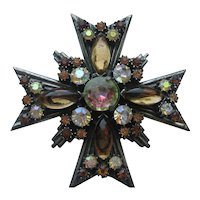 Vintage Florenza Maltese Cross Pendant Pin Brooch